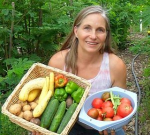 Marjorie Wildcraft with vegetables